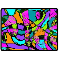 Abstract Sketch Art Squiggly Loops Multicolored Double Sided Fleece Blanket (large)