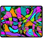 Abstract Sketch Art Squiggly Loops Multicolored Double Sided Fleece Blanket (Large)  80 x60 Blanket Front