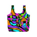 Abstract Sketch Art Squiggly Loops Multicolored Full Print Recycle Bags (S)  Front