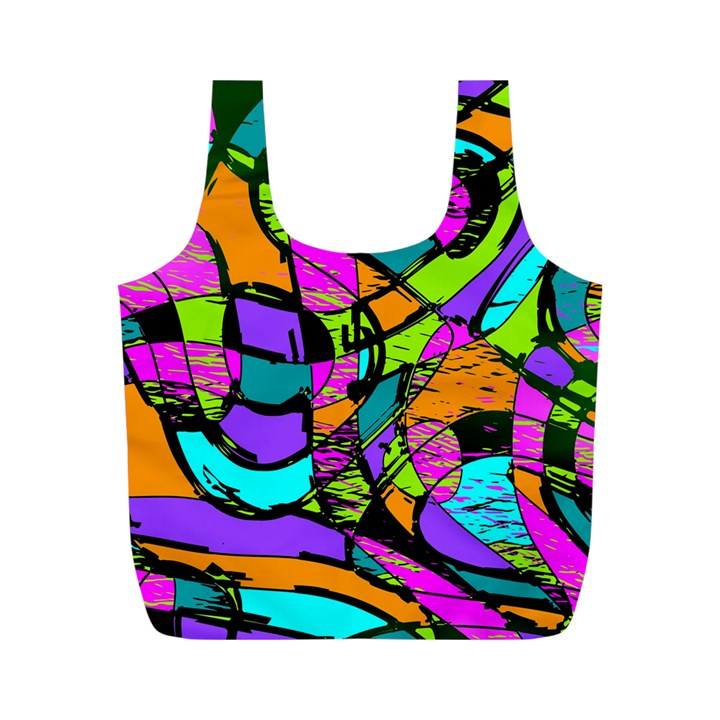 Abstract Sketch Art Squiggly Loops Multicolored Full Print Recycle Bags (M)