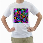 Abstract Sketch Art Squiggly Loops Multicolored Men s T-Shirt (White)  Front