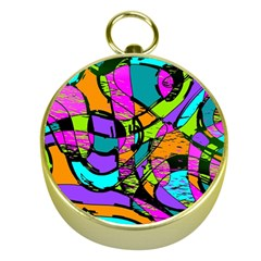 Abstract Sketch Art Squiggly Loops Multicolored Gold Compasses