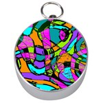 Abstract Sketch Art Squiggly Loops Multicolored Silver Compasses Front
