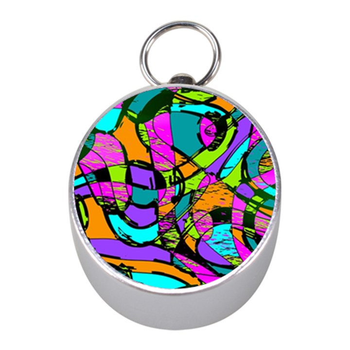 Abstract Sketch Art Squiggly Loops Multicolored Mini Silver Compasses