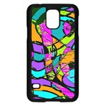 Abstract Sketch Art Squiggly Loops Multicolored Samsung Galaxy S5 Case (Black) Front