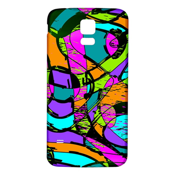 Abstract Sketch Art Squiggly Loops Multicolored Samsung Galaxy S5 Back Case (White)