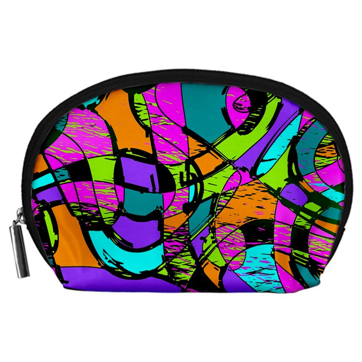 Abstract Sketch Art Squiggly Loops Multicolored Accessory Pouches (Large)
