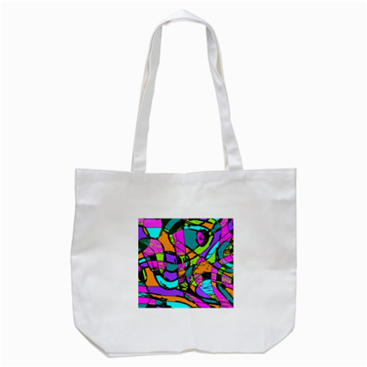 Abstract Sketch Art Squiggly Loops Multicolored Tote Bag (White)