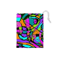 Abstract Sketch Art Squiggly Loops Multicolored Drawstring Pouches (small)