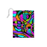 Abstract Sketch Art Squiggly Loops Multicolored Drawstring Pouches (Small)  Back