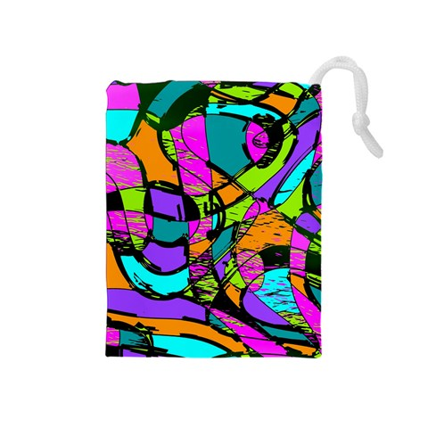 Abstract Sketch Art Squiggly Loops Multicolored Drawstring Pouches (Medium)