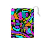 Abstract Sketch Art Squiggly Loops Multicolored Drawstring Pouches (Medium)  Front