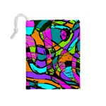 Abstract Sketch Art Squiggly Loops Multicolored Drawstring Pouches (Medium)  Back