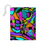 Abstract Sketch Art Squiggly Loops Multicolored Drawstring Pouches (Large)  Back