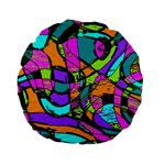 Abstract Sketch Art Squiggly Loops Multicolored Standard 15  Premium Flano Round Cushions Back