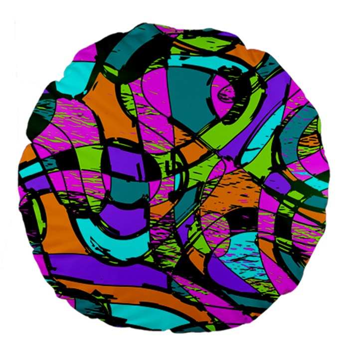 Abstract Sketch Art Squiggly Loops Multicolored Large 18  Premium Flano Round Cushions
