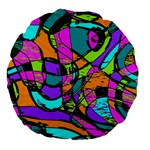 Abstract Sketch Art Squiggly Loops Multicolored Large 18  Premium Flano Round Cushions Back