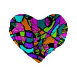 Abstract Sketch Art Squiggly Loops Multicolored Standard 16  Premium Flano Heart Shape Cushions Front