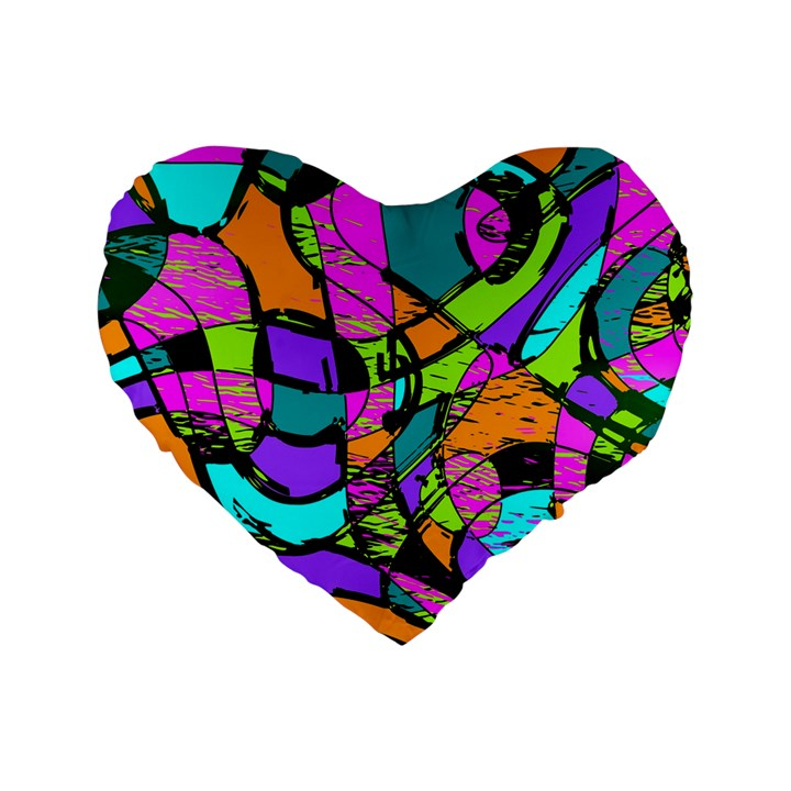 Abstract Sketch Art Squiggly Loops Multicolored Standard 16  Premium Flano Heart Shape Cushions