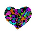 Abstract Sketch Art Squiggly Loops Multicolored Standard 16  Premium Flano Heart Shape Cushions Back