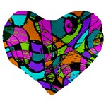 Abstract Sketch Art Squiggly Loops Multicolored Large 19  Premium Flano Heart Shape Cushions Back