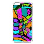 Abstract Sketch Art Squiggly Loops Multicolored Apple iPhone 6 Plus/6S Plus Enamel White Case Front
