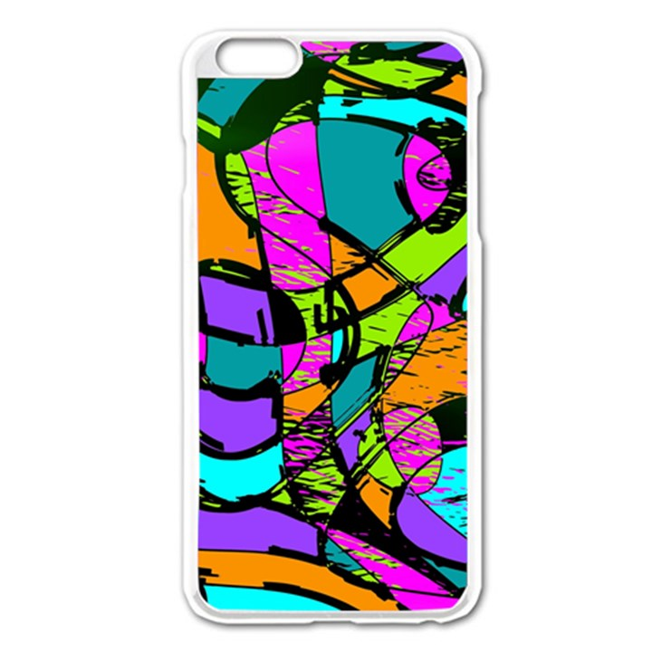 Abstract Sketch Art Squiggly Loops Multicolored Apple iPhone 6 Plus/6S Plus Enamel White Case