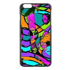 Abstract Sketch Art Squiggly Loops Multicolored Apple iPhone 6 Plus/6S Plus Black Enamel Case