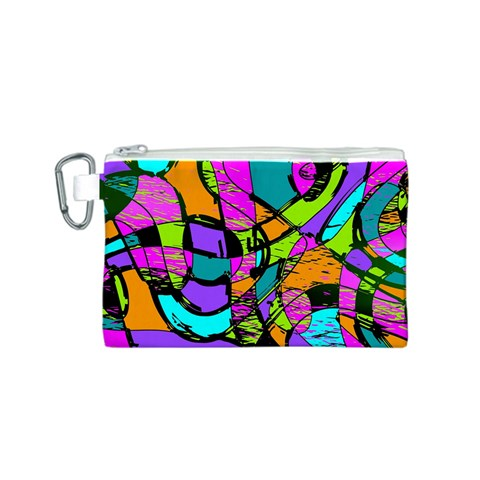 Abstract Sketch Art Squiggly Loops Multicolored Canvas Cosmetic Bag (S)