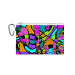 Abstract Sketch Art Squiggly Loops Multicolored Canvas Cosmetic Bag (S) Front