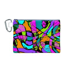 Abstract Sketch Art Squiggly Loops Multicolored Canvas Cosmetic Bag (m)