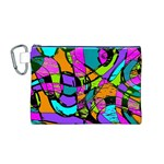 Abstract Sketch Art Squiggly Loops Multicolored Canvas Cosmetic Bag (M) Front