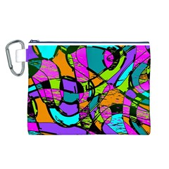 Abstract Sketch Art Squiggly Loops Multicolored Canvas Cosmetic Bag (L)