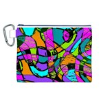 Abstract Sketch Art Squiggly Loops Multicolored Canvas Cosmetic Bag (L) Front