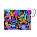 Abstract Sketch Art Squiggly Loops Multicolored Canvas Cosmetic Bag (L) Back