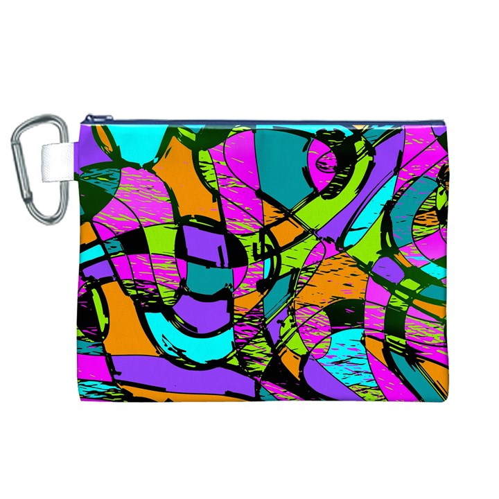 Abstract Sketch Art Squiggly Loops Multicolored Canvas Cosmetic Bag (XL)
