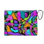 Abstract Sketch Art Squiggly Loops Multicolored Canvas Cosmetic Bag (XL) Back