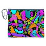 Abstract Sketch Art Squiggly Loops Multicolored Canvas Cosmetic Bag (XXL) Front