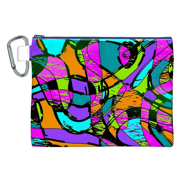 Abstract Sketch Art Squiggly Loops Multicolored Canvas Cosmetic Bag (XXL)