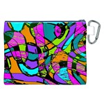 Abstract Sketch Art Squiggly Loops Multicolored Canvas Cosmetic Bag (XXL) Back