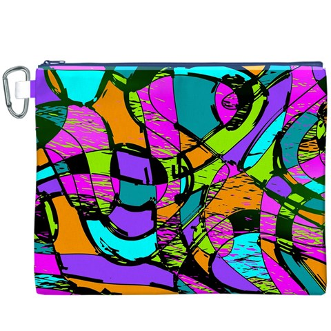 Abstract Sketch Art Squiggly Loops Multicolored Canvas Cosmetic Bag (XXXL)