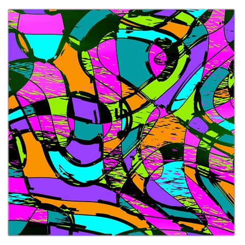 Abstract Sketch Art Squiggly Loops Multicolored Large Satin Scarf (Square)