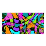 Abstract Sketch Art Squiggly Loops Multicolored Satin Shawl Front