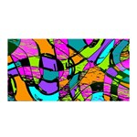 Abstract Sketch Art Squiggly Loops Multicolored Satin Wrap Front