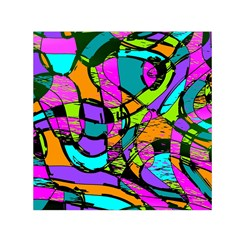 Abstract Sketch Art Squiggly Loops Multicolored Small Satin Scarf (Square)