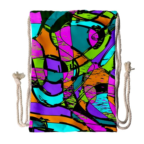 Abstract Sketch Art Squiggly Loops Multicolored Drawstring Bag (Large)