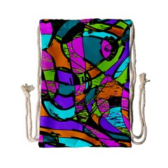 Abstract Sketch Art Squiggly Loops Multicolored Drawstring Bag (small)