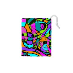 Abstract Sketch Art Squiggly Loops Multicolored Drawstring Pouches (xs)