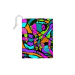 Abstract Sketch Art Squiggly Loops Multicolored Drawstring Pouches (XS)  Back
