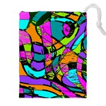 Abstract Sketch Art Squiggly Loops Multicolored Drawstring Pouches (XXL) Front